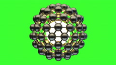 3d molecular spherical lattice isolated on green screen Stock Footage