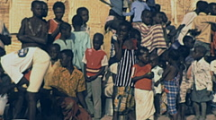 Senegal 1985: crowd watching a fight match Stock Footage