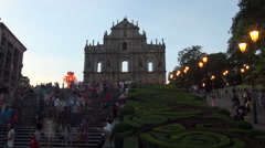Timelapsed Day To Night, Ruins of St. Paul's in Macau in the front of facade-Dan Stock Footage