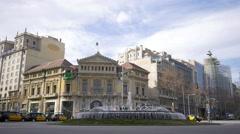 Barcelona Square Traffic Fountain Stock Footage