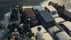 Senegal 1985: cars in a ferry Stock Footage