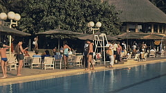 Senegal 1985: tourists in a resort Stock Footage