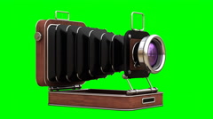 Classic Retro Camera in Wooden case isolated on green screen Stock Footage