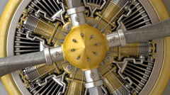 Close-up Radial engine aircraft. Stock Footage