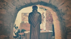 Wooden saint on niche Stock Footage