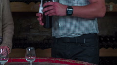 Stock Video Footage of Waiter pouring the select wine in to glasses to tasted it