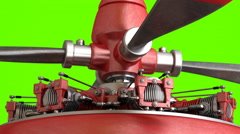 Radial engine isolated on green screen Stock Footage