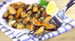 Fresh Mussels (not loopable) Stock Footage