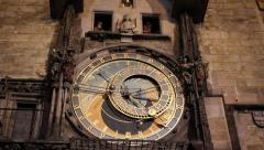 Medieval astronomical clock in Prague Stock Footage