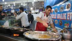 Fish market under Galata Bridge in Istanbul Stock Footage