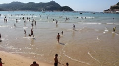 La Concha Beach in San Sebastian - stock footage