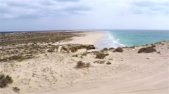 Aerial view of ( Praia de ) Curalinho Beach in Boa Vista Cape Verde - Cabo Verde Stock Footage