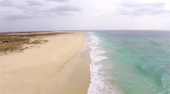 Aerial view of ( Praia de ) Curalinho Beach in Boa Vista Cape Verde - Cabo Verde Stock Footage
