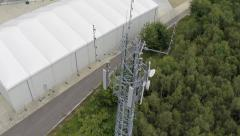 Aerial view of Radio mast Stock Footage