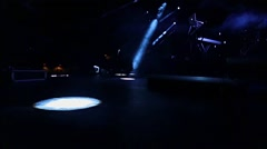 Spotlight on en Empty Stage during Lighting test before a show Stock Footage