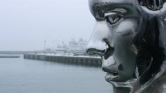 MerHan sculpture in Helsingor Stock Footage