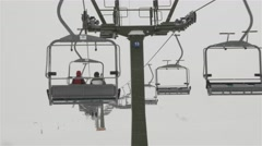 Chairlift in the fog Stock Footage