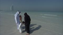 An Arab family on the beach. Stock Footage