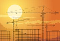Buildings and cranes Stock Illustration