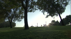 An Arabic family walking in a park. Arkistovideo