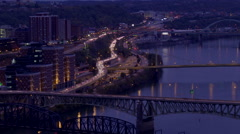 Pittsburgh Traffic Night Time Lapse Stock Footage