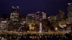 Pittsburgh Skyline Night Time Lapse Stock Footage
