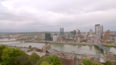 Downtown Pittsburgh Day to Night Time Lapse with Traffic and River Stock Footage