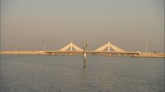 Shot of a bridge over the creek in Dubai. Stock Footage