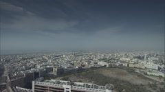 Aerial pan over buildings and the Creek in Dubai. Stock Footage