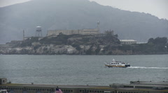 Stock Video Footage of Ferry Passes Alcatraz Prison