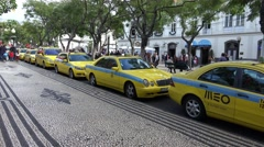 4k Main taxi stand in Funchal city center Madeira Stock Footage