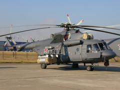 Military helicopter Mi-8 - stock photo