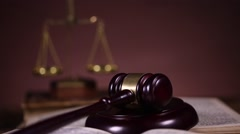 Law, legal code and scales of justice - stock footage