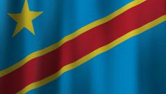 Flag of the Democratic Republic of the Congo Blows Slowly in the Wind Stock Footage