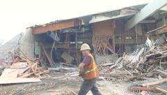 Severely Damaged Building Aftermath Stock Footage