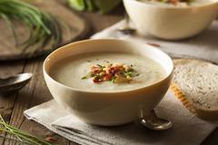 Homemade Creamy Potato and Leek Soup Stock Photos