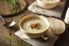 Homemade Creamy Potato and Leek Soup - stock photo