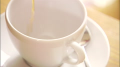 Close up of cup being filled up with coffee. Stock Footage