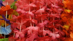 flowered leigh hawaiian lei - stock footage