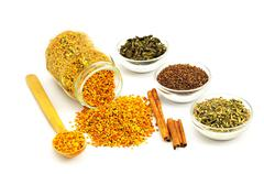 Bee Pollen and flavoring - stock photo