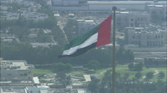 Aerial shot of the UAE flag in Dubai. Stock Footage