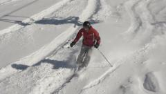 Skier in slow motion freeride Stock Footage