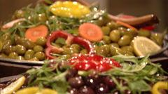 Close shot of a plate of olives. Stock Footage
