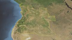 Glide over the satellite map of Angola outlined Stock Footage