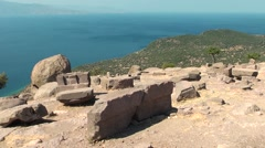 Ruined Athena Temple in Assos, Turkey Stock Footage