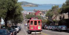 San Francisco cable car trolley Stock Footage