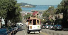 San Francisco cable car trolley - stock footage