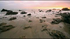 California Los Angeles Ocean Waves upon Beach Stock Footage