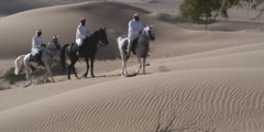 Arabic men riding horses in a desert. Stock Footage