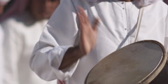 Arabic men playing drums. Stock Footage